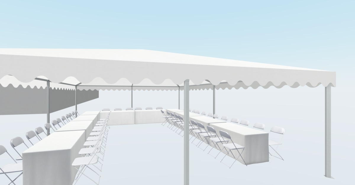 6*9 m telt med hestesko til 50 gæster.