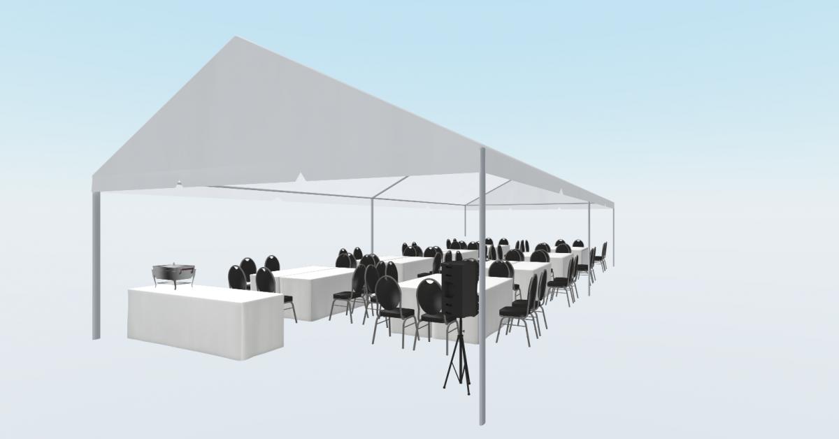 Bordopstillinger i udlejnings telte